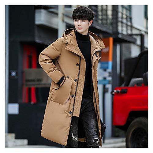 TBAO Winter Daunenjacke Herren Mode Dicke Warme Lange Jacken Herren Kapuzenjacke Herbst Winter Trenchcoat Herrenbekleidung (Color : Khaki, Size : X-Large)