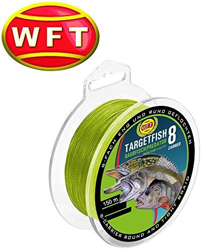 WFT TF8 Raubfisch Schnur Chartreuse 150m, geflochtene Schnur, Angelschnur, Hechtschnur, Zanderschnur, Barschschnur, Forellenschnur, Meeresschnur, Durchmesser/Tragkraft:0.20mm / 18kg Tragkraft