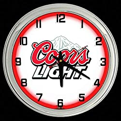 ELG Companies LLC 16 Coors Light Beer Sign Red Neon Clock