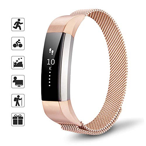 TOMALL Magnetic Fitbit Alta HR Bands Stainless Steel Replacement Wristbands for Fitbit Alta HR Fitness Tracker (Rose Gold)