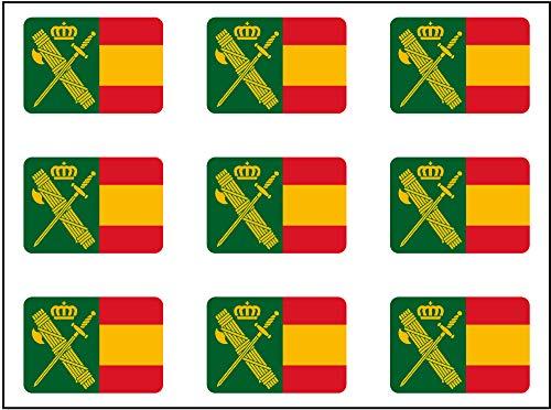 Artimagen Pegatina rectángulos Bandera con Logo Guardia Civil 9 uds. 16x11 mm/ud.