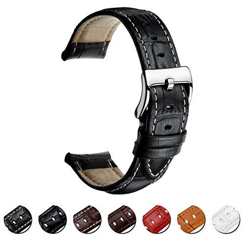 Correa Reloj de Cuero 16mm 18mm 20mm 22mm Banda de Reloj de Cuero Genuino para Hombres y Mujeres con Sebilla Sólida de Acero Inoxidable