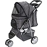 Paws & Pals Dog Stroller - Pet Strollers for Small Medium Dogs & Cats - 3 Wheeler Elite Jogger - Carriages Best for Cat & Large Puppy - Plaid Blue