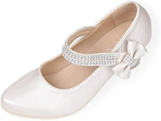 d633f58ce61 First Communion Girls Dress Shoes Sparkly Mary Jane Rhinestones Strap Heels  Pump Toddler Little