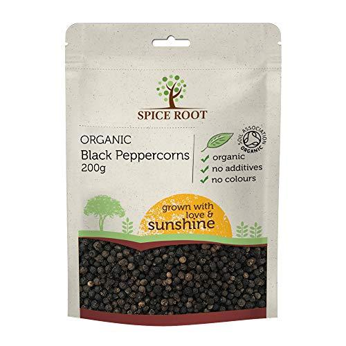 Bio Pimienta Negra en Grano 200g (Organic Black Peppercorns, organico pimienta) - Calidad Superior, Orgánico Certificado | Excelente Aroma, Sabor | Variedad Malabar | Bio