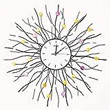 XYSQWZ Orologio da Parete Orologio da Parete Orologio da Parete con Rami di Fiori Colorati in Metallo Articoli per La Casa Orologio da Parete con Design Sunburst Orologio da Parete 70 * 70
