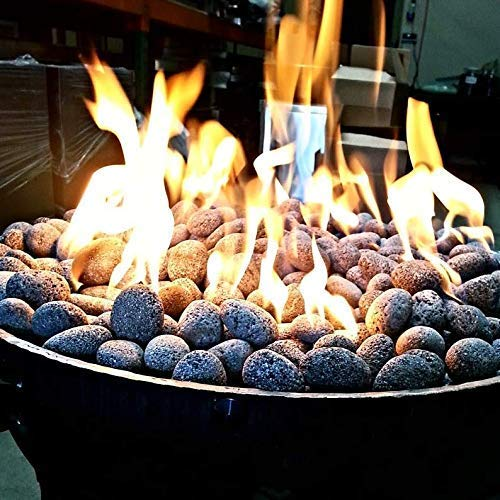 Exotic Fire Glass | Tumbled Black and Gray Lava Pebbles | 20 Pound Bag | 3/4-1 1/4 Inch Pebble Size | Perfect for Any Natural Gas or Propane Outdoor Fire Pit