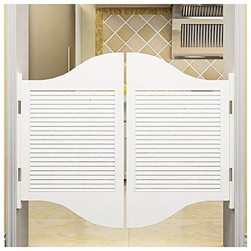 GuoWei Louvered Saloon Door Cafe Door Swinging Door Bar Kitchen Restaurant Entrance Use Pine Wood, Hinge Included, Support Size Customize (Color : White, Size : 90cmx100cm)