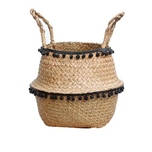 Szetosy - Cesta de junco para almacenamiento de Goodchance UK, con pompones. Cesta plegable tejida y con asa para ropa, juguetes, plantas o para usar en el cuarto del bebé, Estilo#6, 27x24cm