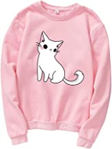 Aniywn Cat Print Blouse Hooded Women Girls Casual Long Sleeve Round Neck Simple Baggy Tunic Sweatshirts Tops