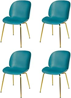 GIA Beetle Plastic Chair with Steel Frame, Green/Gold, 4-Pack