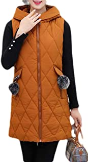 Macondoo Womens Winter Cotton Padded Puffer Vest Quilted Hooded Down Vest Coat