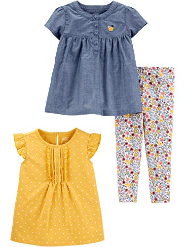 Simple Joys by Carter's Girls' 3-Piece Short-Sleeve Dress, Top, and Pants Playwear Set