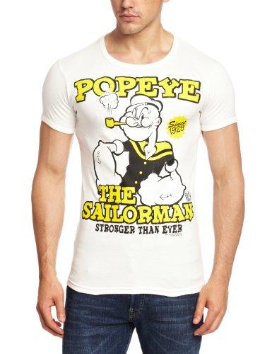 Logoshirt Unisex Hemd T-Shirt Slim Fit Popeye- The Sailorman, Elfenbein, Small (herstellergröße: Small)