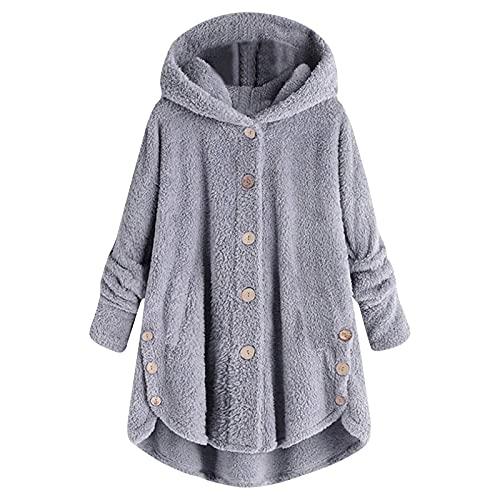 Blusen & Túnica para mujer, talla grande, con botones de felpa y capucha, chaqueta de punto, abrigo de lana, chaqueta de invierno, camiseta, gris, XXXXXL