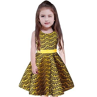 iiniim Bambina Vestito da Principessa Matrimonio Damigella d'Onore Senza Maniche Tutu Abito da Sera Compleanno Partito 2-14 anni