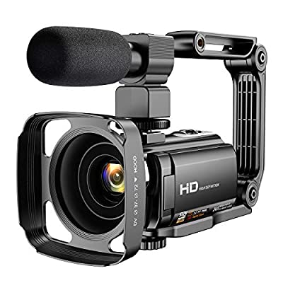 """Video Camera Camcorder with Microphone, VAFOTON 1080P 30FPS 24MP Vlogging Camera for YouTube 16X Digital Zoom 3.0"""" 270° Rotation Screen Vlog Camera Webcam with Handheld Stabilizer Remote Control from VAFOTON"""