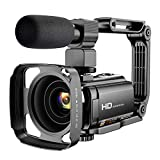Video Camera Camcorder with Microphone, VAFOTON 1080P 30FPS 24MP Vlogging Camera for YouTube 16X...
