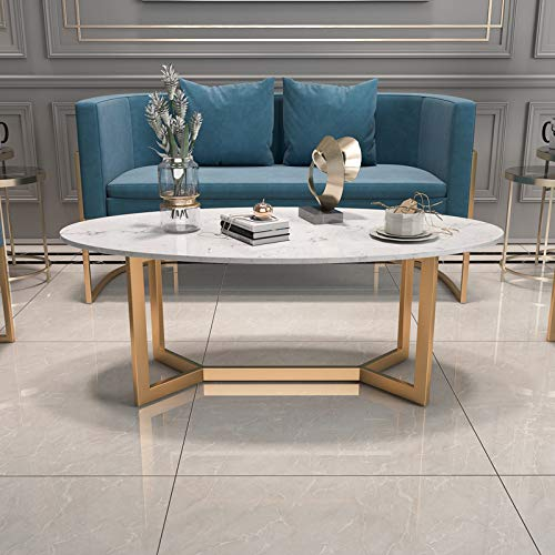 Oval Living Room Coffee Tables in Faux Marble Finish with Gold Frame, 80x50x45cm,100x50x45cm