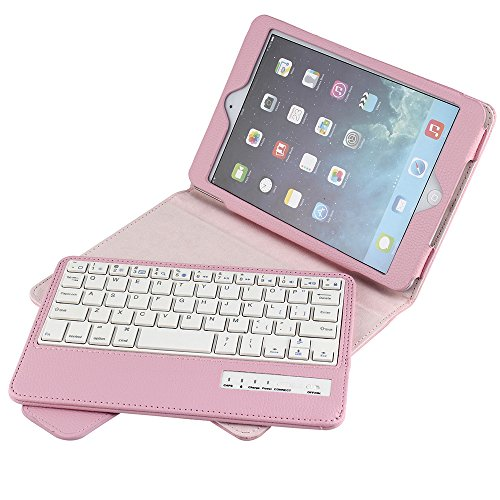 iPad Cover for iPad Mini,Eoso keboard Case with Removable Bluetooth Keyboard for iPad Mini 1/2/3/4/5 (Pink)