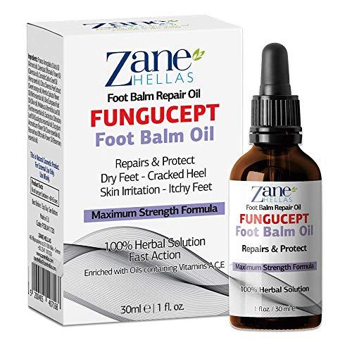 Zane Hellas Fungucept Foot Balm - Baume pour les pieds Répare et protège des démangeaisons, des brûlures, des fissures, de la mise à l'échelle. Arrête la mauvaise odeur. 1 fl.oz. - 30 ml