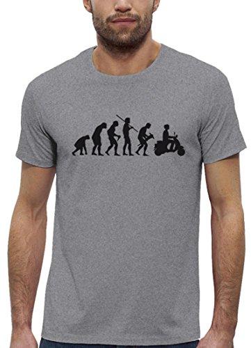Mofa Premium Herren T-Shirt aus Bio Baumwolle Evolution Motorroller Marke Stanley Stella, Größe: L,Heather Grey