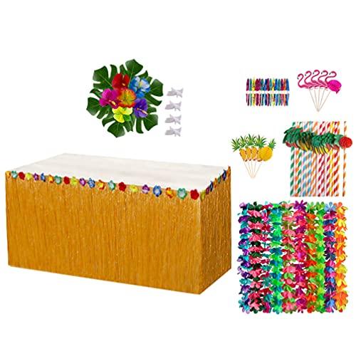 SOIMISS Decoraciones Hawaianas para Fiestas Tropicales con Luau Hawaiano Falda de Mesa Hojas de Palmeras Tropicales Flores de Hibisco Guirnalda Cadena Piña Comida Picos Paja Papel