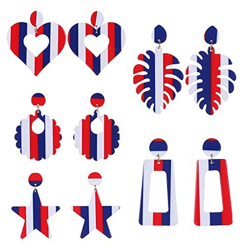 Pendientes colgantes patrióticos con diseño de la bandera americana de Bohemia en forma de lágrima, color rojo, blanco y azul