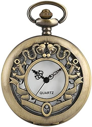 EURYTKS Reloj de Bolsillo Retro Hueco Flor en Forma de Reloj de Bolsillo de Cuarzo Campanas Antiguas Collar de Esfera Redonda Colgante Reloj de Cadena