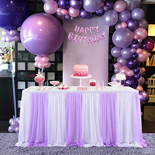 Suppromo 9ft Purple Table Skirts for Rectangle Tables or Round Table Tulle Tablecloth Lavender Tutu Table Skirt for Wedding Baby Shower Birthday Party Dessert Buffet Banquet Table Decorations