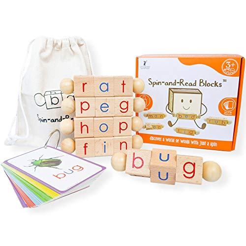 LITTLE BUD KIDS SpinandRead Montessori Phonetic Reading Blocks and Flashcard Travel Toy Set for Beginner Readers