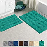Bathroom Rugs by Zebrux, Set of 2 Non Slip Thick Shaggy Chenille Bath Mats for Bathroom Extra Soft and Absorbent - Striped Bath Rugs Set for Indoor/Kitchen (Rectangular Set, Turquoise)