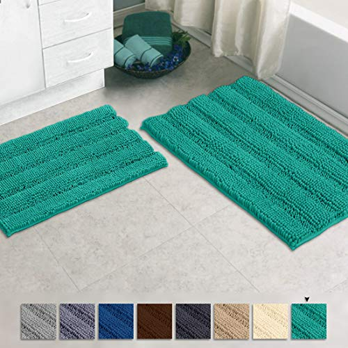 Zebrux Non Slip Thick Shaggy Chenille Bathroom Rugs, Bath Mats for Bathroom Extra Soft and Absorbent - Striped Bath Rugs Set for Indoor/Kitchen (15 x 24 + 20 x 30'', Turquoise)