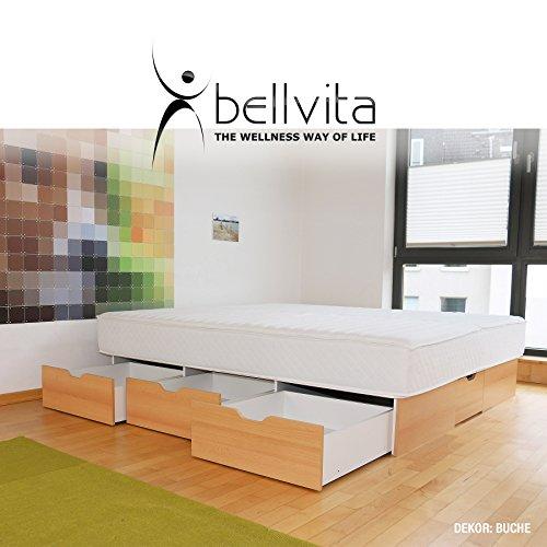 bellvita WASSERBETTEN SCHUBLADENSOCKEL inkl. Lieferung und AUFBAUSERVICE durch Fachpersonal, 200 cm x 200 cm (buche)