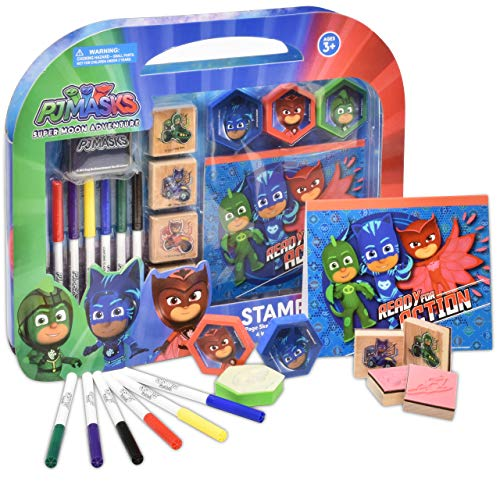 PJ Masks Coloring Stamper and Activity Set, Mess Free Craft Kit for Toddlers and Kids, Drawing Art Supplies Included Sketch Book, 6 Color Markers, 3 Foam, 4 Wooden Stampers