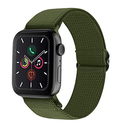 VIKATech Correa deportiva compatible con Apple Watch Correa de 44 mm y 42 mm, ajustable elástico trenzado de nailon, compatible con iWatch SE Series 6/5/4/3/2/1, Olivergreen