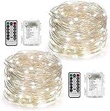 CHOUREN 2 Conjunto Luz de Navidad con pilas con control remoto del temporizador 8 modos de centelleo cadena luces LED 5M 50 luces de la luciérnaga for el partido casero decoración de vacaciones