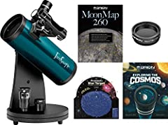 This complete telescope kit is the perfect gift for beginners! Includes the FunScope 76mm reflector telescope, 20mm and 10mm eyepieces, red dot finder scope, MoonMap 260, Moon Filter, Star Target Planisphere, Exploring the Cosmos book, and more all a...