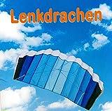 SUPwave Lenkdrache 55 x 120 cm, Kite, Lenkmatte, Mattendrache, Drache inkl. Lenkschnüre 2 x 50m (Blau)