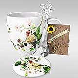 YC YANG CHAI YC Berry Birdy Cup - Set de regalo para los amantes del café (4 piezas, taza de café de porcelana XXL, platillo y cuchara)