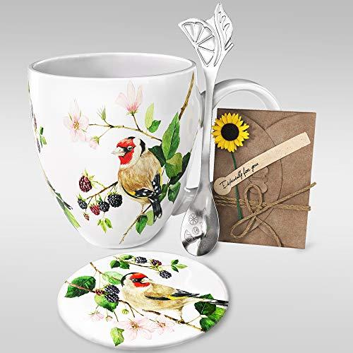 YC YANG CHAI 4-Teiliges Geschenkset für Kaffeeliebhaber - XXL- Porzellan-Kaffeebecher + Untersetzer + Extra-Langer Löffel - YC Berry Birdy Cup
