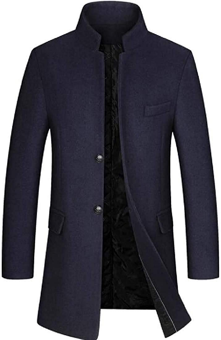 Men Stand Collar Quilted Padded Long Jacket Single Breasted Wool-Blend Top Coat