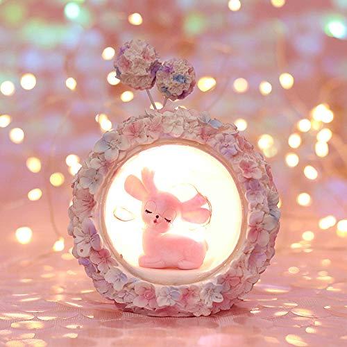 GJWHENS Dormitorio LED Hortensia Fawn Noche de la Estrella Infantil Luz de bebé Niños lámpara de cabecera de Animales de Juguete de Regalo decoración de cumpleaños de la iluminación
