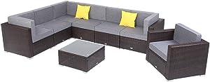 Aelph 8 Pieces Patio Sectional Sofa PE Wicker Rattan Corner Sofa Outdoor Indoor Use Couch Set