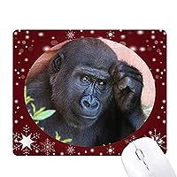 陸生生物が野生動物のチンパンジー オフィス用雪ゴムマウスパッド