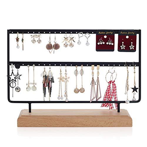 Pendiente de rack de almacenamiento de escritorio sujetador de pernos del oído Lugar estantes joyería pantalla Accesorios de joyería (sin pendientes) ( Color : Black , Size : 30*21.5cm )