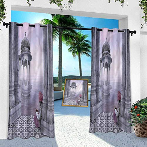 Aishare Store Patio Outdoor Curtain, Ancient, Old Man with Turban, 100' x 84' Heavy Duty Indoor Panel for Porch Balcony Pergola Canopy Tent Gazebo Window(1 Panel)