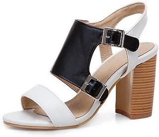 BalaMasa Womens ASL06389 Pu Block Heels