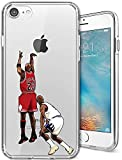 ETERINS Cases Ultra Slim [Crystal Clear] [Hardwood Series] Soft Transparent TPU Case Cover - Michael The Shot Jordan for iPhone 8 7