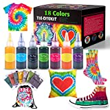 Tie Dye Kits, 18 Colors Tie Dye Shirt Fabric Dye Kit for Kids, Adults, with Rubber Bands, Gloves, Plastic Film and Table Covers for Party Supplies,Perfect for Party, Thanksgiving